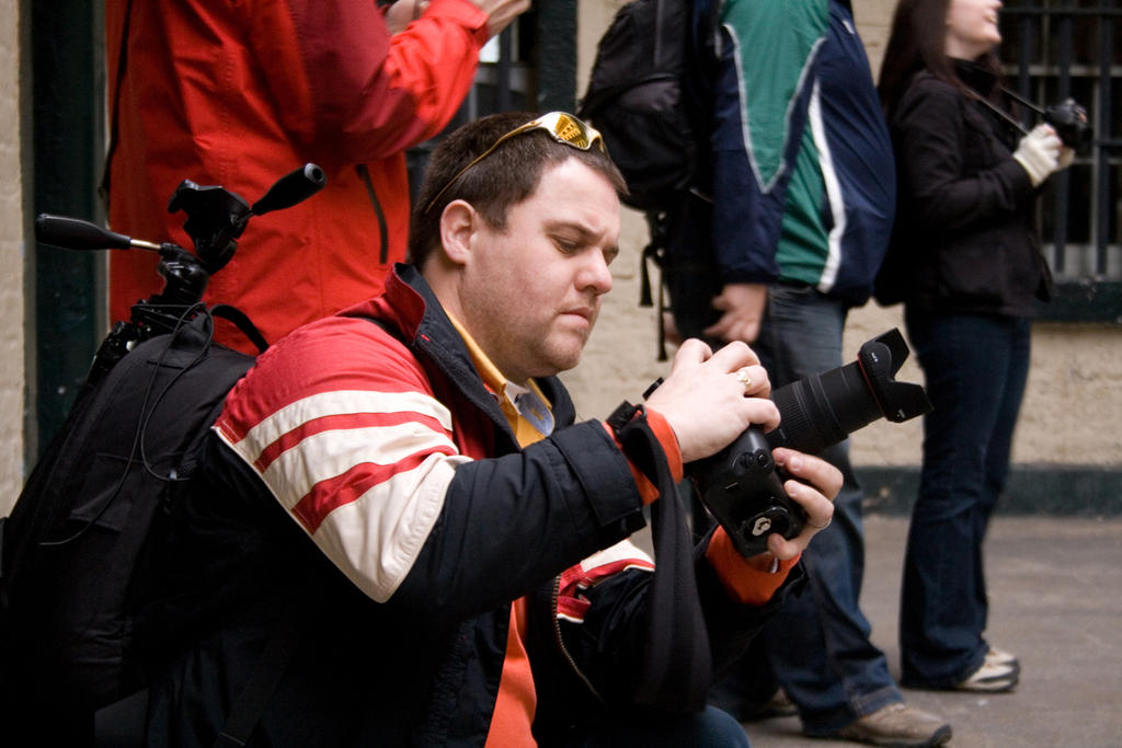 Mike checks his camera