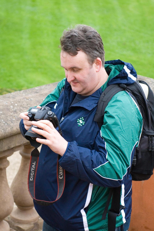 Simon checks his camera