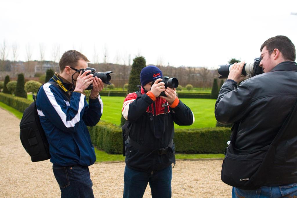 Everyone checks everyone else through their cameras