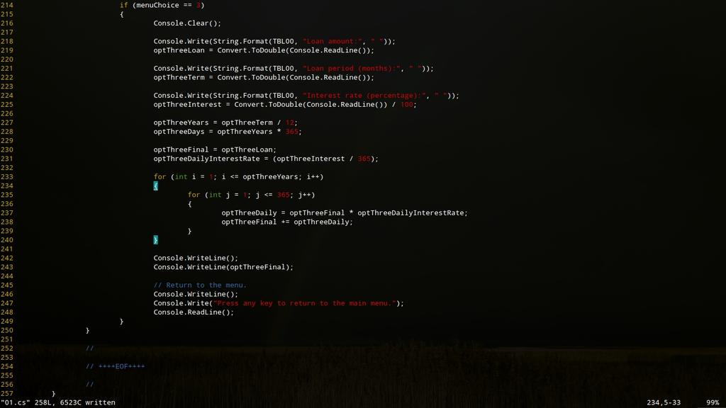 C# code in Sublime Text