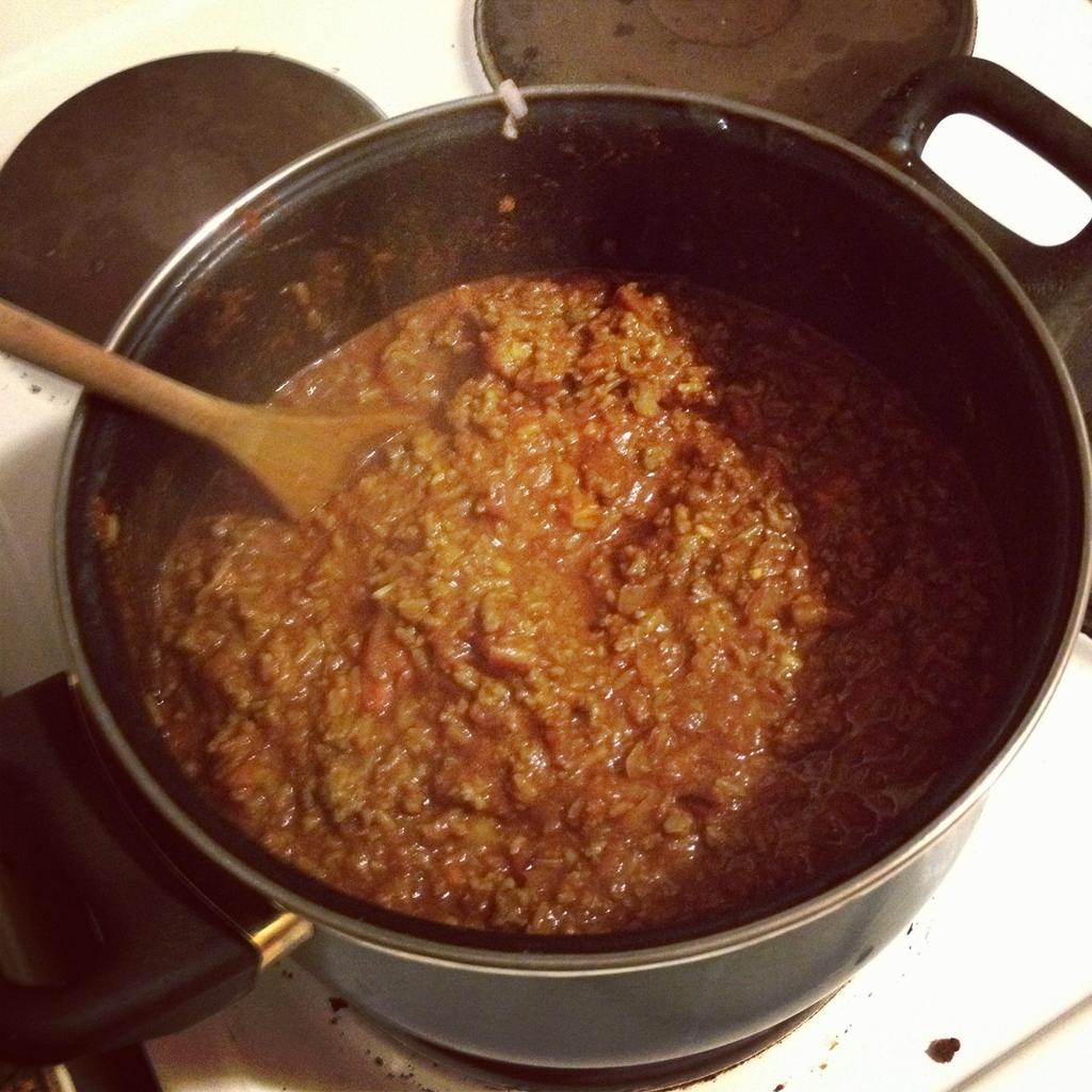 The chili in the pot