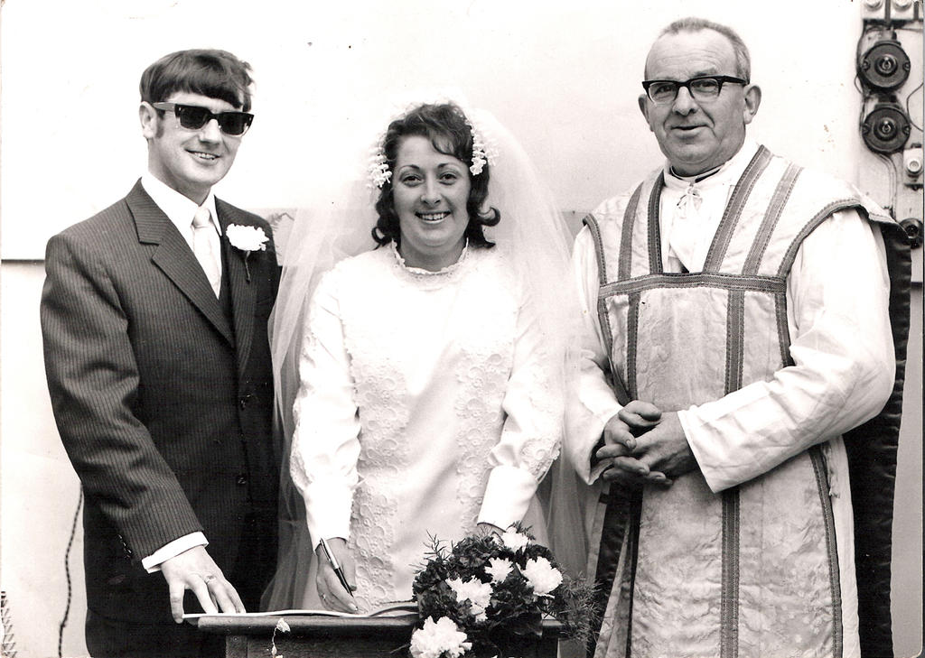 Mum and day on their wedding day, 1972