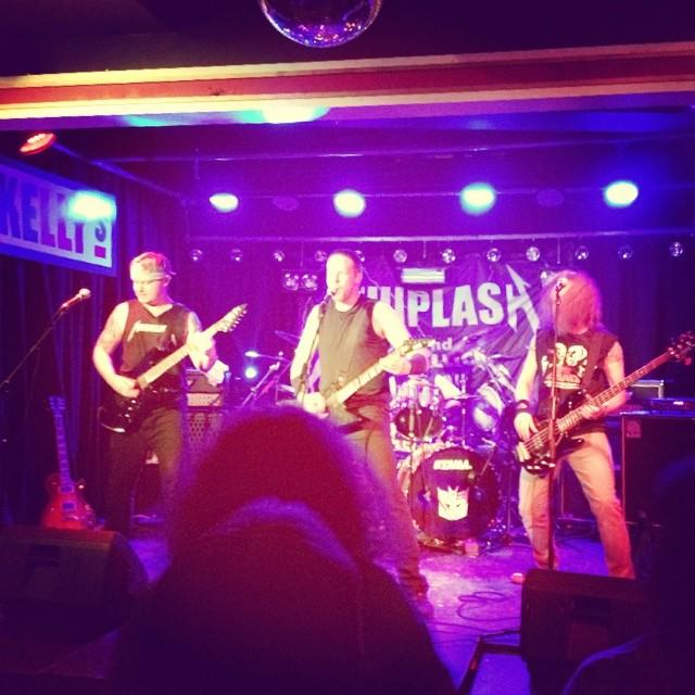 Whiplash on stage at Kelly's Bar