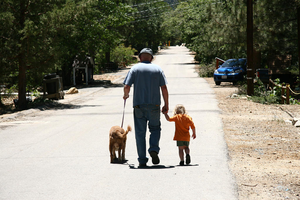 Caira and Ted walking together