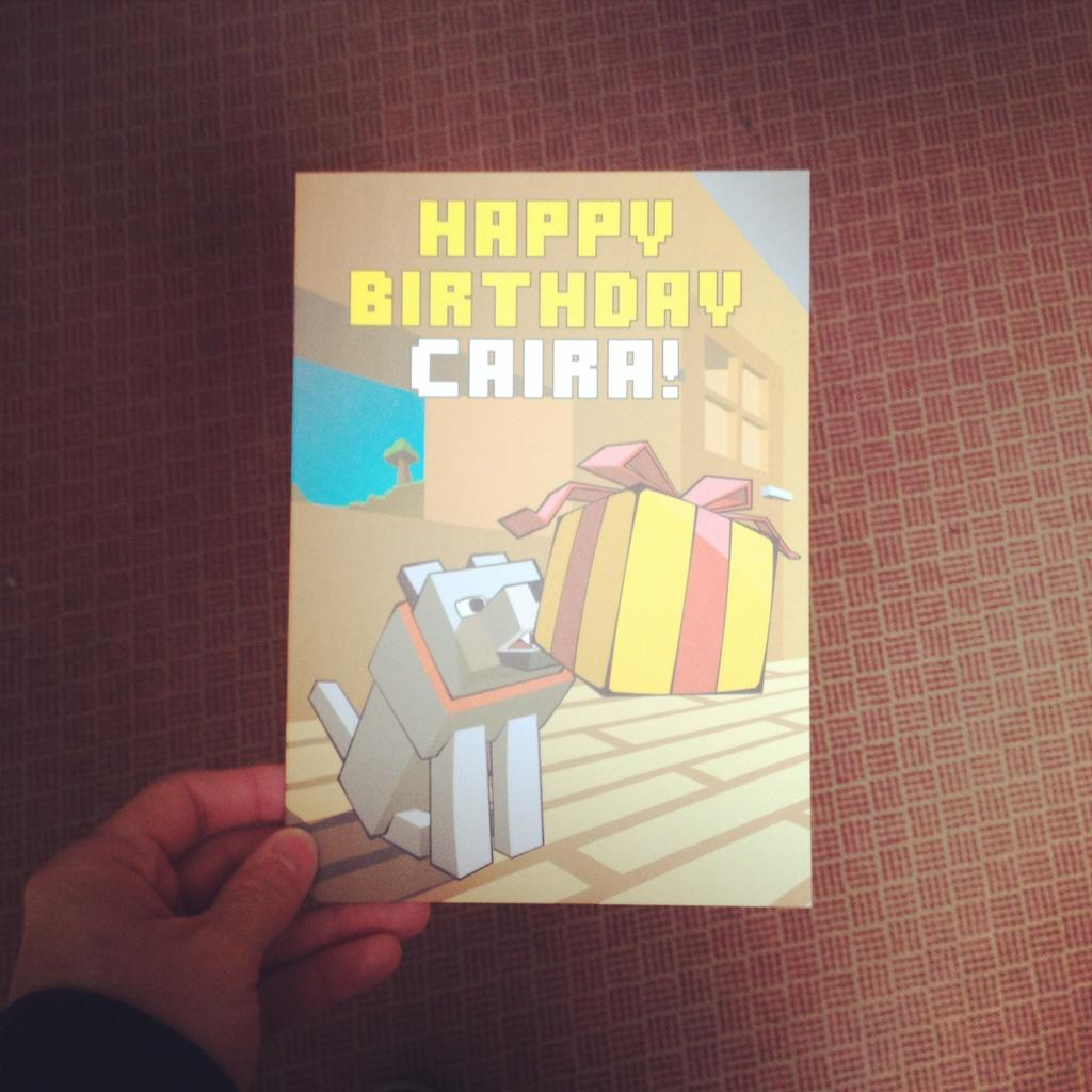 Caira's Minecraft birthday card