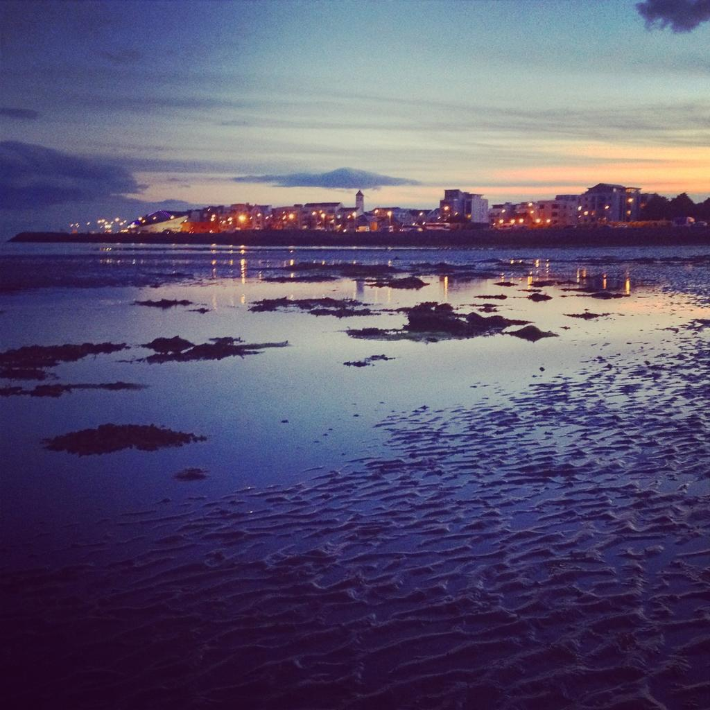 Salthill from the beach at sunset