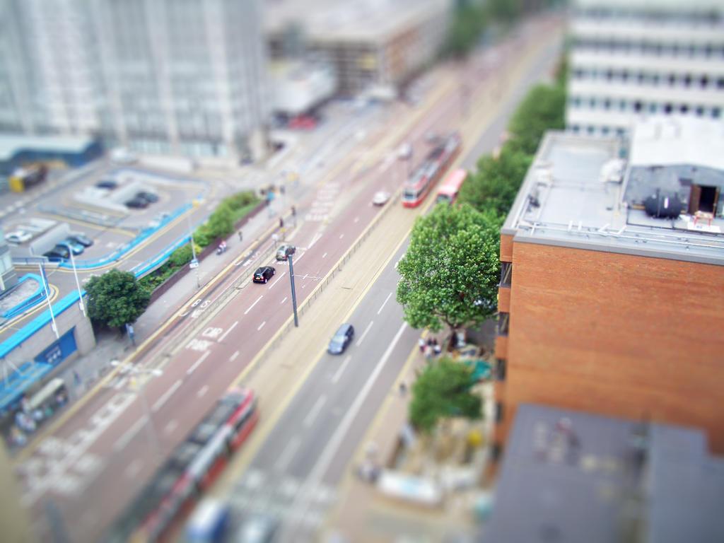 Tilt-shift of Wellesley Road, Croydon, from the Jurys Inn hotel