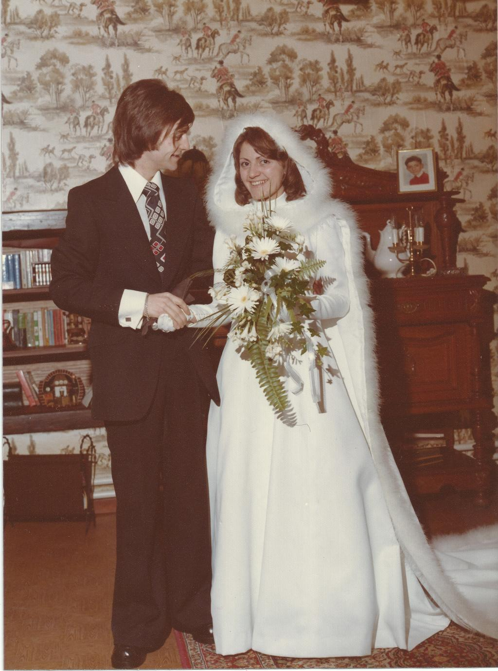 Wedding day 1974, before.