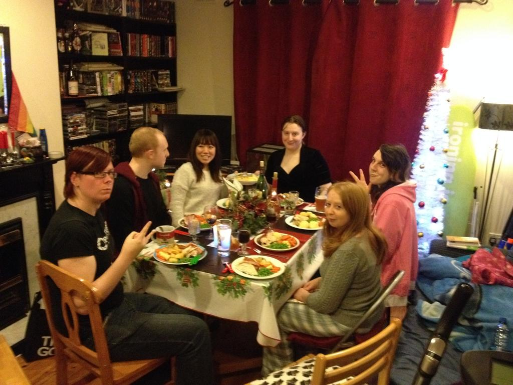 My housemates, girlfriend and friends enjoying Christmas dinner at Raleigh Row
