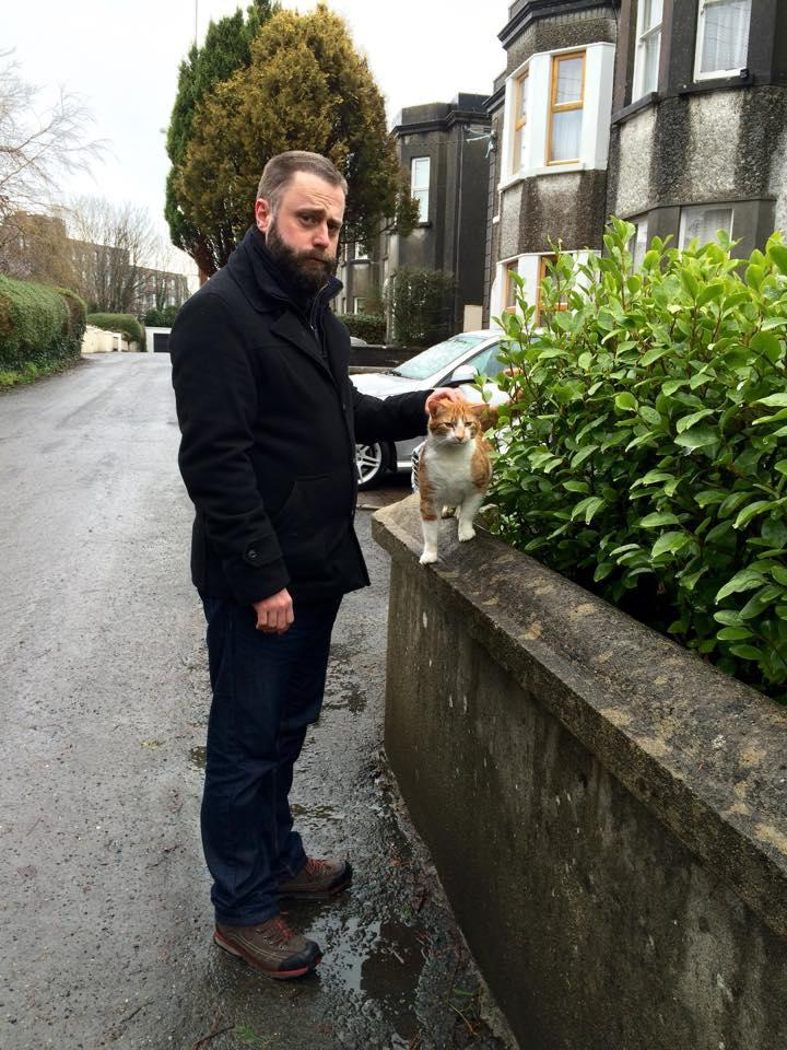 Happy cat lover Mark in Saint Mary's Park, by Eadaoin