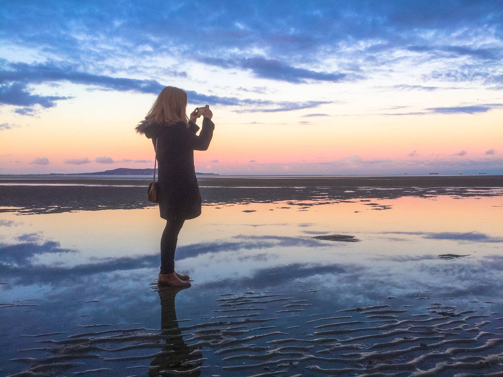 Eadaoin on Sandymount Beach at sunset