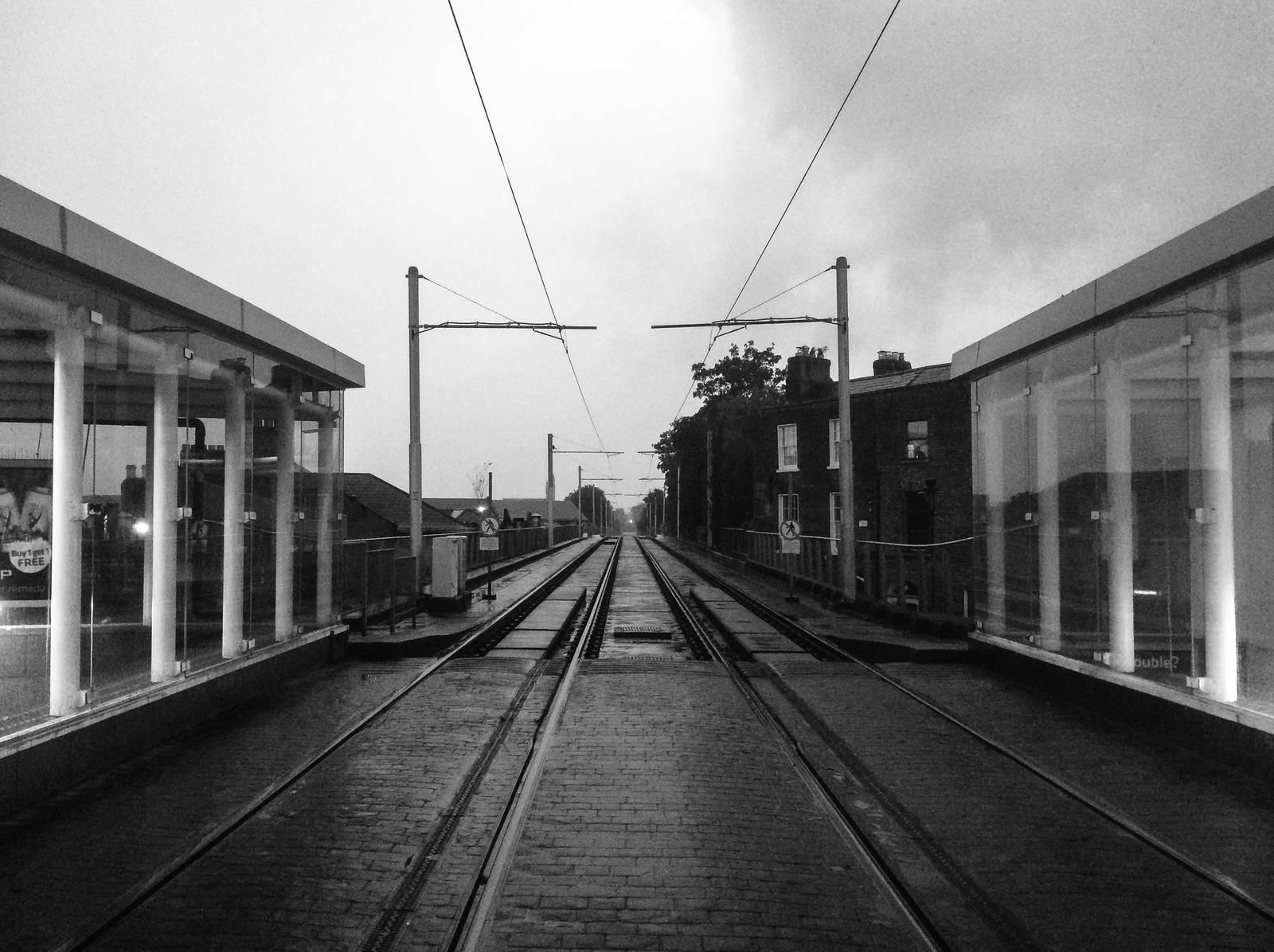 Rainy Luas platform at Ranelagh