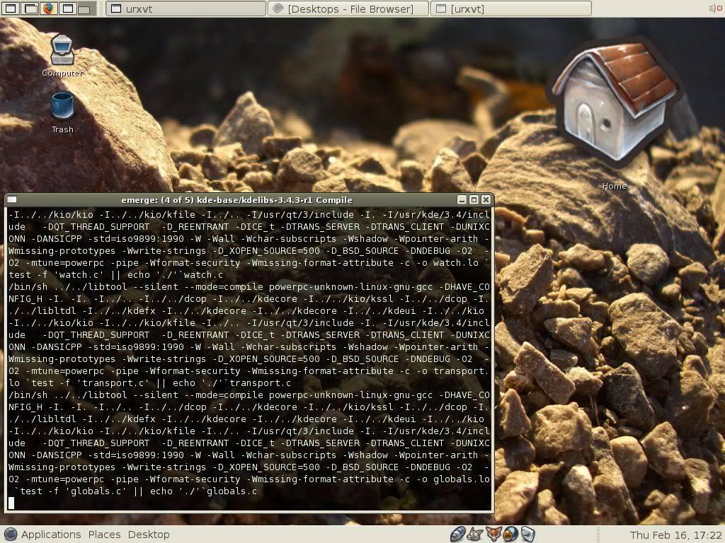 Gnome desktop environment on Gentoo Linux, Thursday February 16 2006