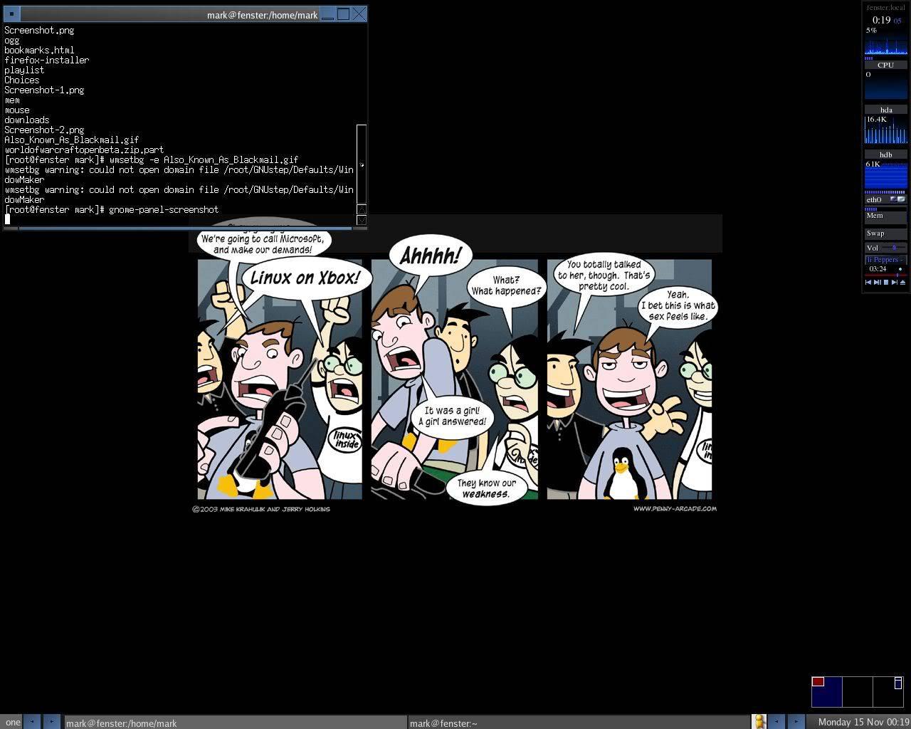Fluxbox window manager on Gentoo Linux, Monday November 15 2004