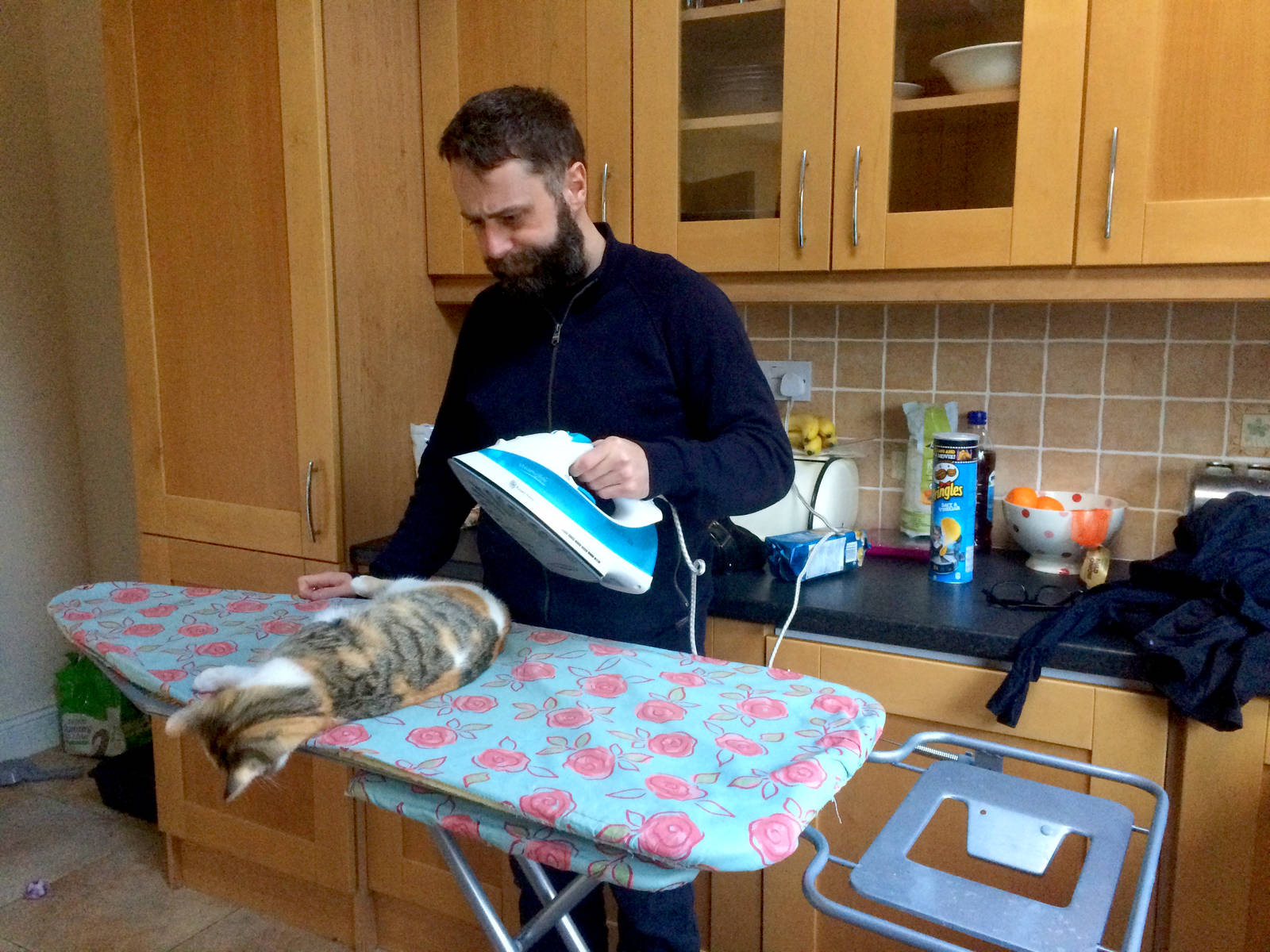 Cookie 'helps' me iron