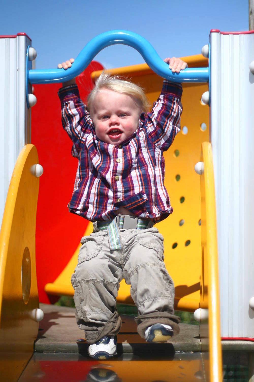 Garrett on the slide