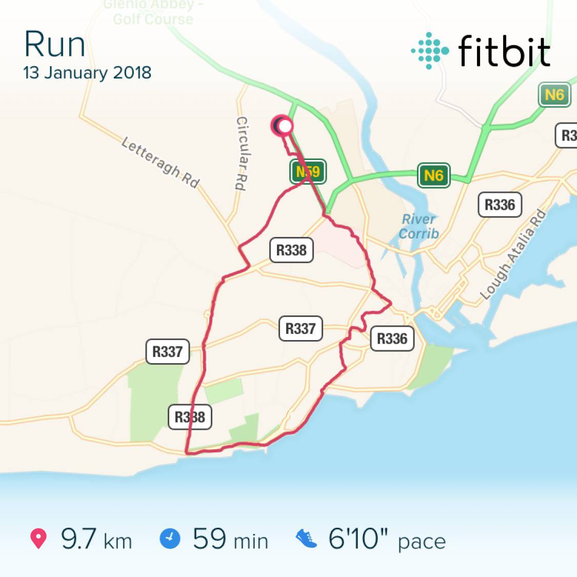 FitBit map of running route