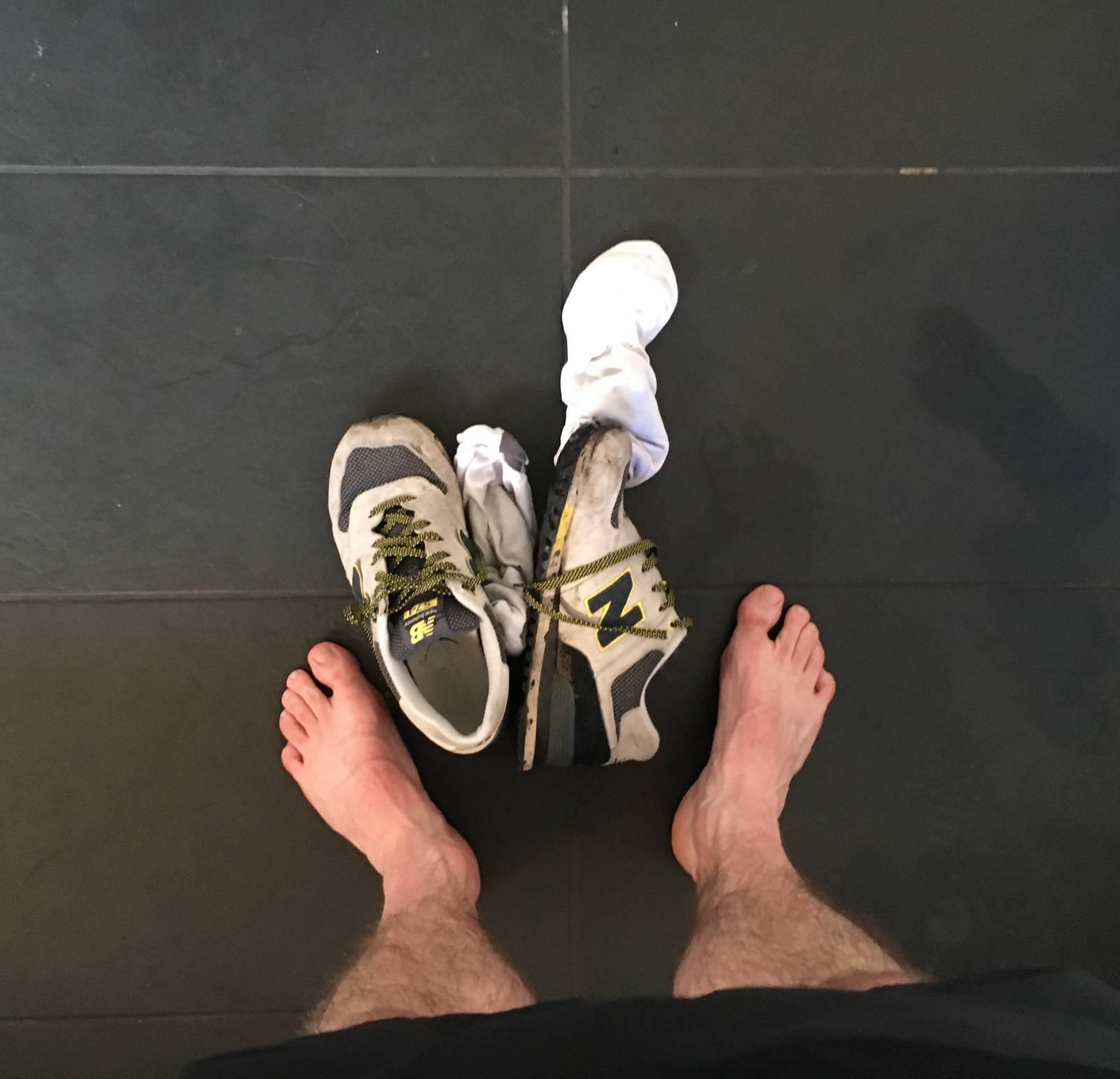 Sweaty bare feet after my run