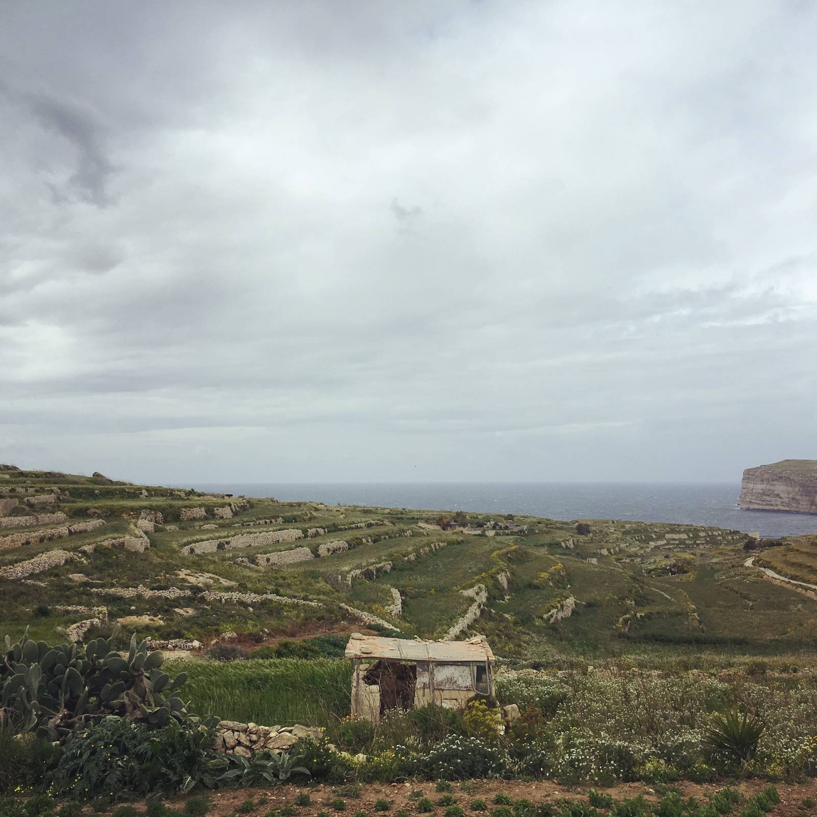 Grey skies and grey seas on Gozo