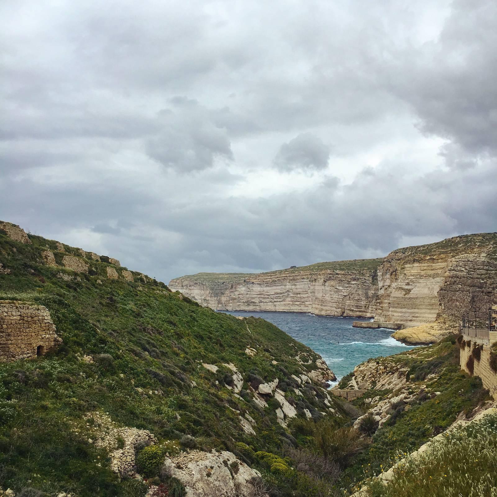 Grey skies and grey seas on Gozo
