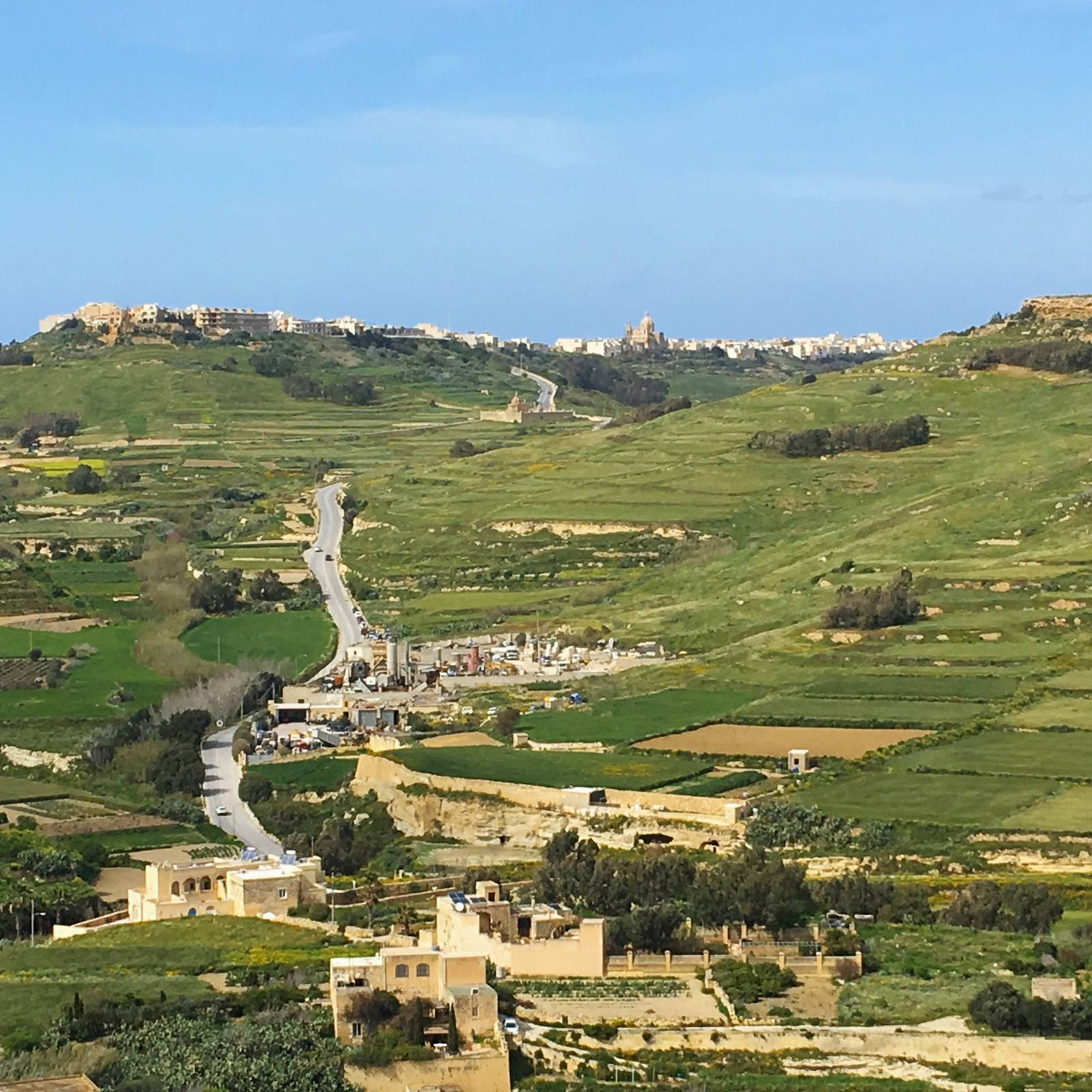 View over Gozo from the battlements of the Citadello in Victoria