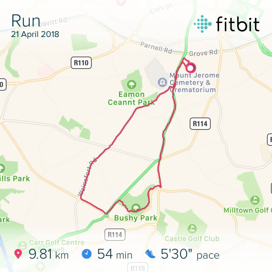 9.81km in 55:07