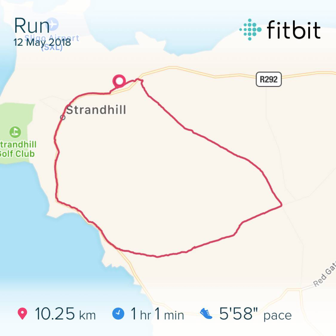 10.02km run in Strandhill, Sligo