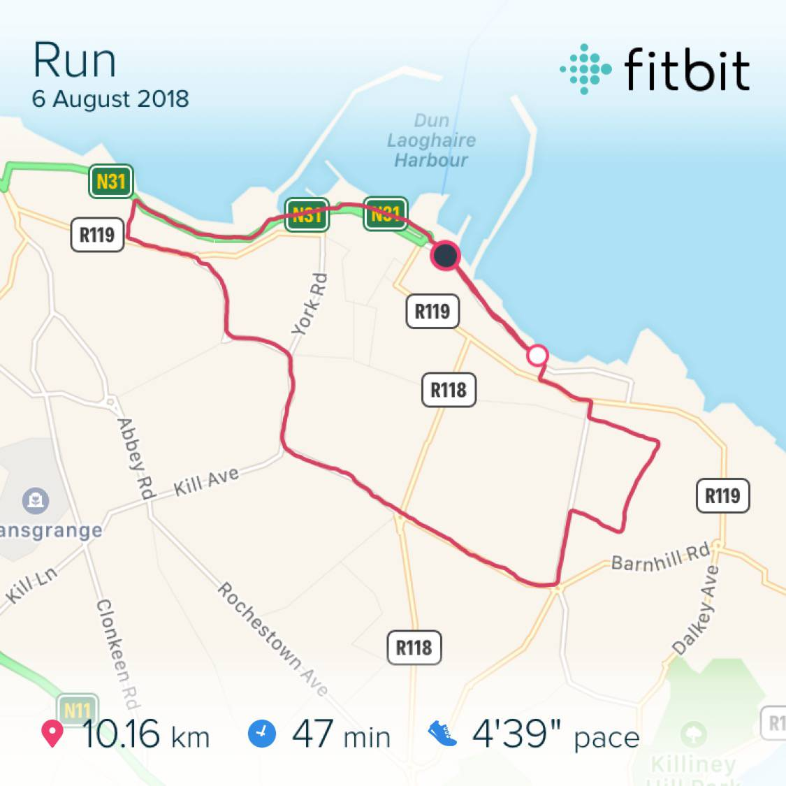 Running route and timing per Fitbit