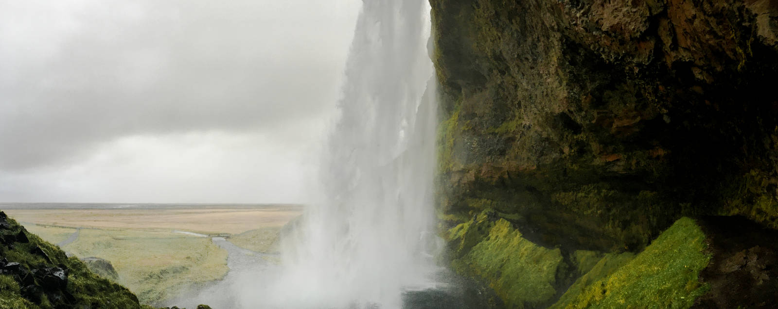 Panorama of Seljalandsfoss in southern Iceland