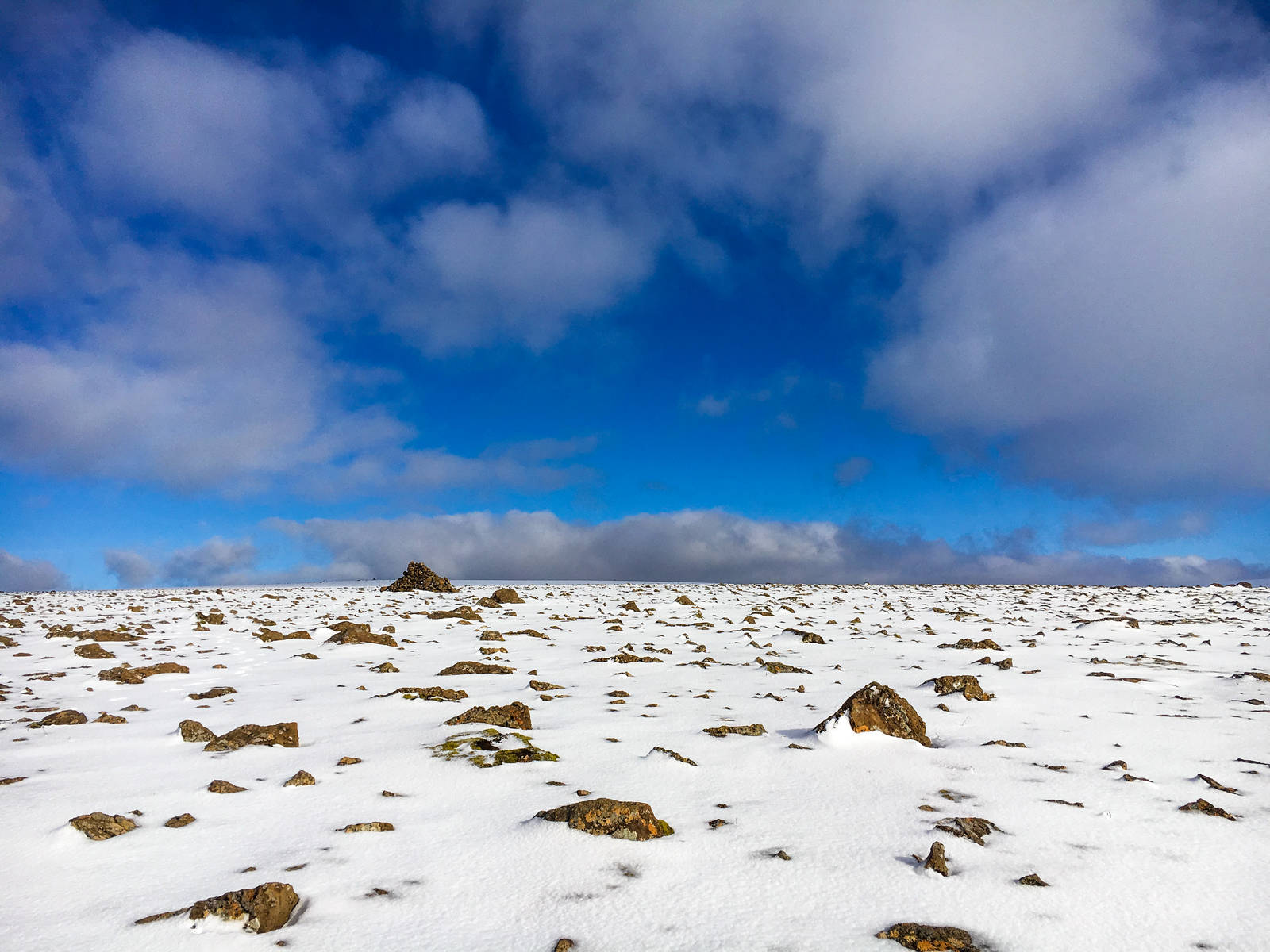 Snowy plateau at the top of Esja