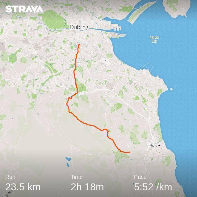 Enniskerry to Dublin running map
