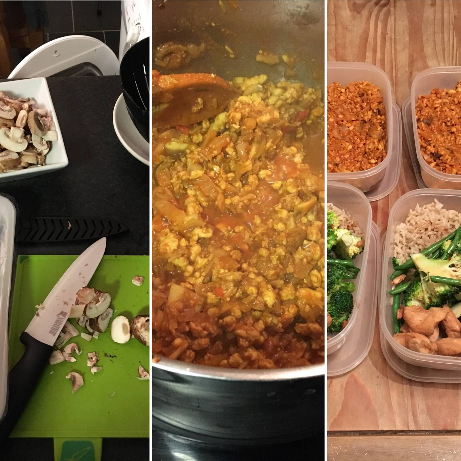 Montage of food prep with chili