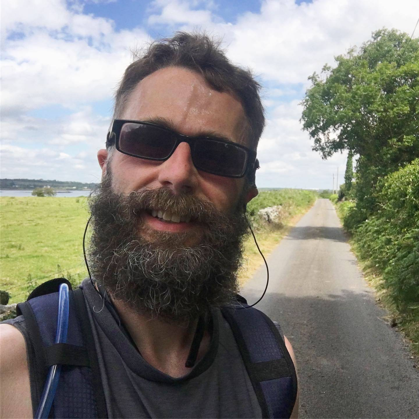 Me on the trail with a crazy beard near Renville by Oranmore.