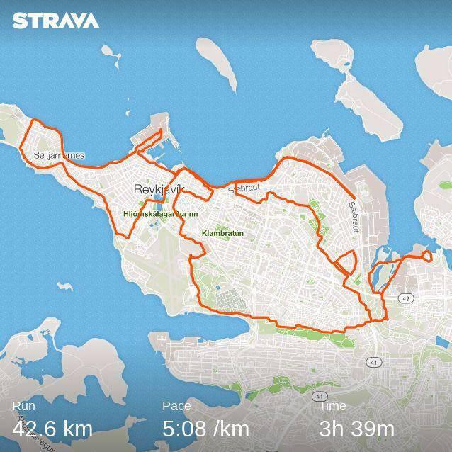 Reykjavik marathon running route