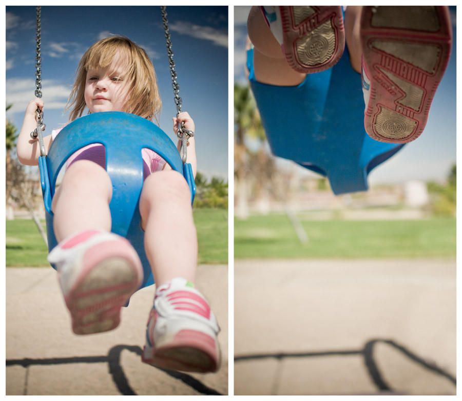 Caira up on the swings