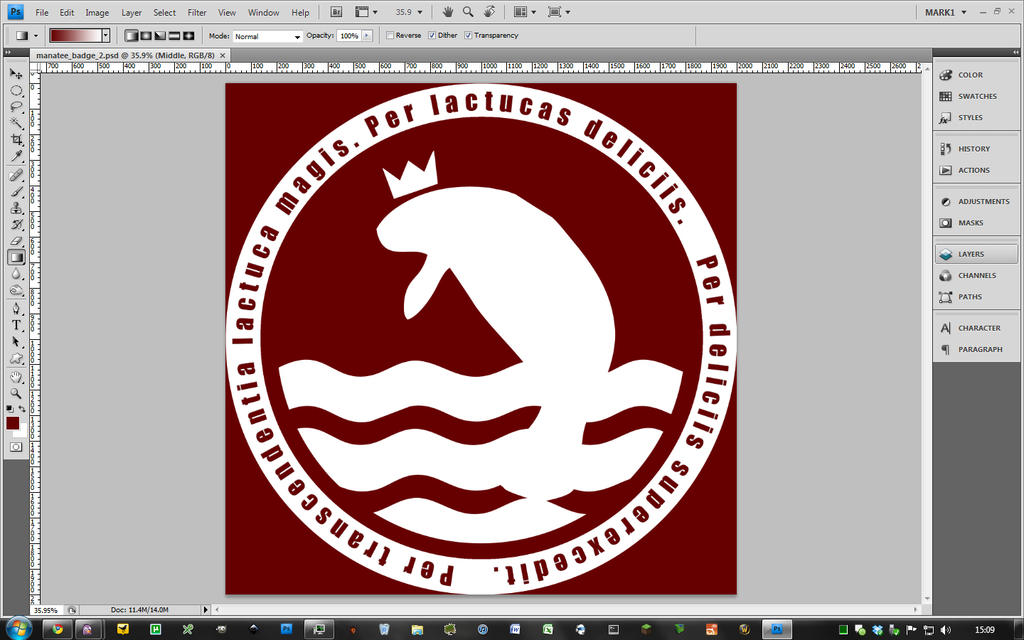 The finished manatee logo in photoshop