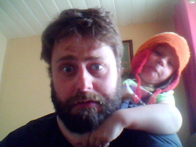 Caira and I make faces on the webcam