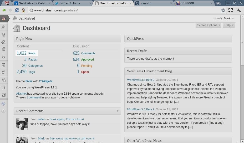 One thousand and twenty two blog posts