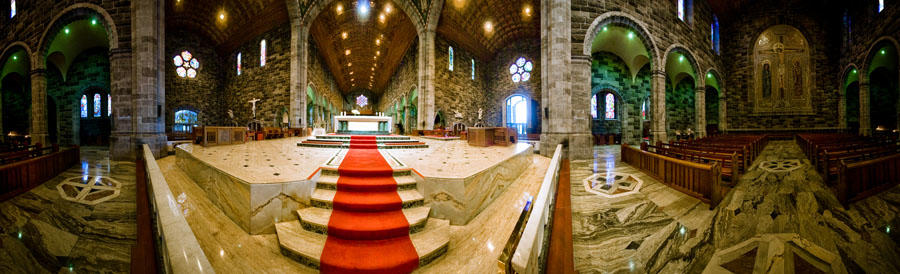 a 360 degree panorama of galway city's cathedral