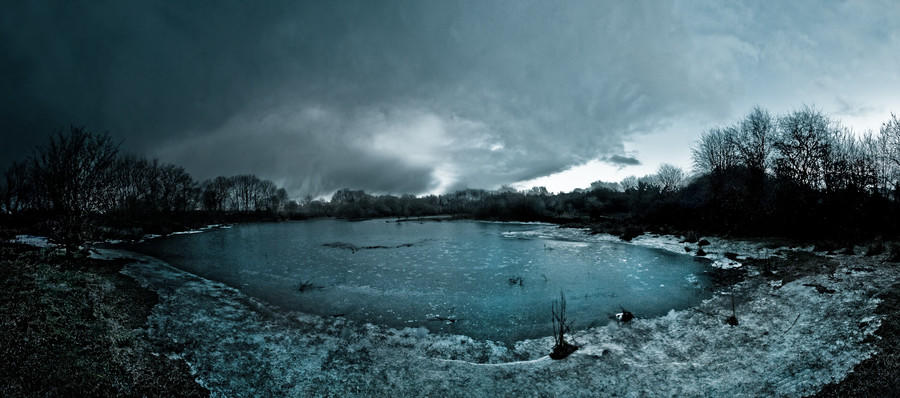 An ice-covered pond in Menlo village, Co. Galway