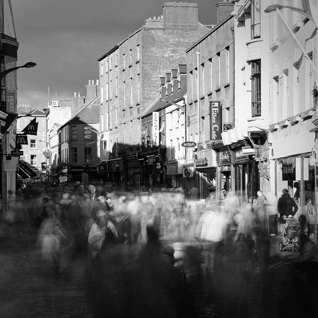 Stop Street infrared crowds