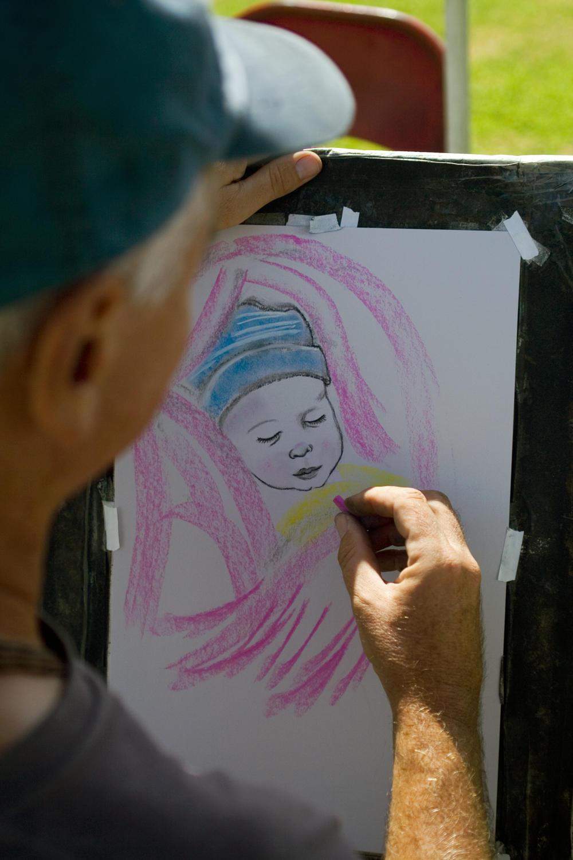 Park artist sketching Caira